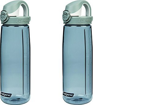 Water Fly Bottle - Nalgene Tritan On The Fly Water Bottle, Smoke W/ White Cap Set of 2, 24Oz