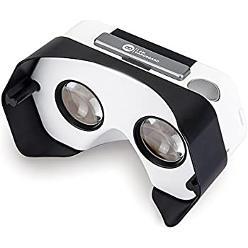 Newly Improved DSCVR Virtual Reality Viewer for iPhones and Android smartphones - Inspired by Google Cardboard 2.0 - Google WWGC certified VR viewer (Black)