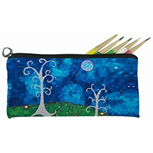 Whimsical Trees Small Pencil Bag, Eye Glasses Case - From My Original Painting, The Couple - Support Wildlife Conservation - Read How