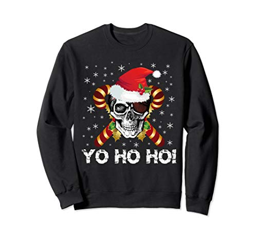 Santa Pirate Christmas Jolly Roger Skull Flag Sweatshirt