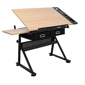 D4P Display4top inclinabile da Tavolo redazione Disegno scrivania Regolabile in Altezza e Due cassetti per Disegno, lavori artistici, architetti/ingegneria, Pittura e Vari Usi di Mestiere 3 spesavip
