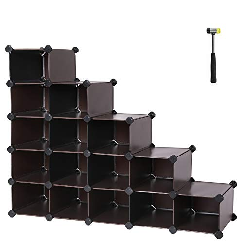 SONGMICS Shoe Rack, Space Saving 15-Cube Plastic Shoe Storage Organizer Units, Modular Cabinet, Ideal for Entryway Hallway, Bathroom, Living Room, 36.6 L x 14.6 W x 28.7 H Inches Brown ULPC44Z (Stair Shoe Rack)