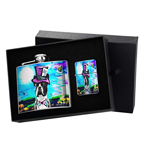 (Boston Terrier Mad Hatter in Wonderland - New Vibe Silver Flip-Top Windproof Refillable Pocket Lighter & Silver Pocket Hip Flask Gift Set)