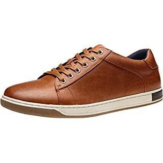 VOSTEY Men's Sneakers Fashion Brown Casual Shoes Dress Sneaker Oxford Shoes(11.5,Yellow Brown)