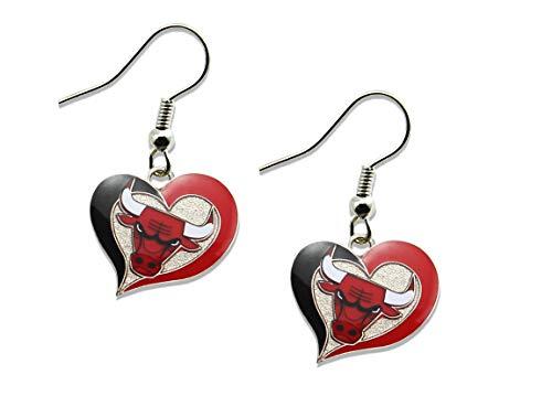 Earring Bulls Chicago - NBA Chicago Bulls Swirl Heart Earrings