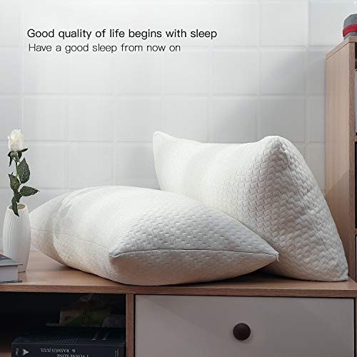 Fond Dream Hypoallergenic Memory Foam Bed Pillow Bamboo Queen Size Ivory Adjustable Loft Shredded Pillow for Home,Hotel Sleeping CertiPUR-US Certified (Single) - 28\'\'x 20\'\'