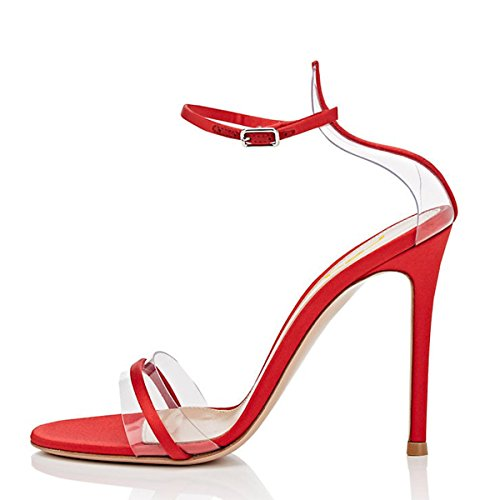 Piece FSJ Two Open Women Red Shoes Stiletto 15 Basic Clear Party 4 Evening Toe Prom US Heels Sandals Size Fxq0FWrU