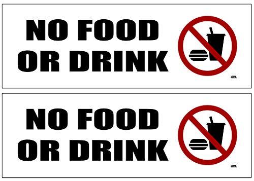 2 Pack No Food Or Drink Allowed Sticker Set Sign Warning 9x3 Inch Vinyl Decal Indoor Outdoor Window Door Business Retail Store