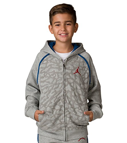NIKE Boy's Air Jordan Retro 3 Fleece Hoodie 953806-042 (Size: Large) Heather Grey/Blue/Red by NIKE
