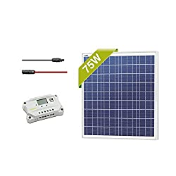 Newpowa 75w Watt 12v Solar Panel + PWM 10A 12v/24v Charge Controller + 6ft wire with MC4 connector