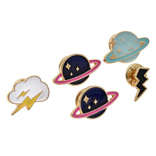 Enamel Breastpin Succulent Plant Collar Brooches Ghost Planet Lapel Pins 1 Set (Planet Lapel Pin)