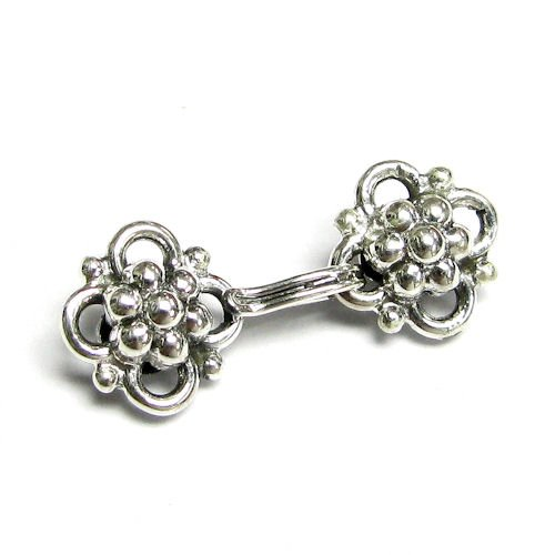 Sterling Hook And Eye Clasp - 1 set .925 Sterling Silver Daisy Hook Eye Clasp Necklace Connector/Findings/Antique