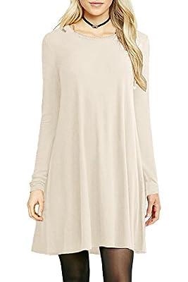 Céu Women's Basic Swing Loose T-Shirt Dress with Crewneck & Long Sleeves