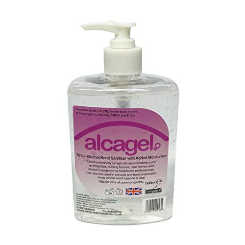 Vanguard Alcagel 70% Alcohol Gel Hand Sanitiser with Added Moisturiser – 500ml (1x Bottle)