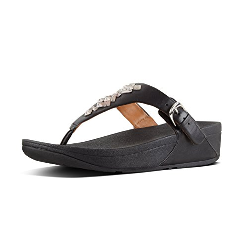 Fitflop The Skinny Toe Sandals-Cryst - Sandalias de Mujer EN Color Negro