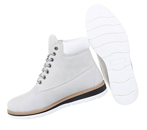 Damen Stiefeletten Leder-Optik   Used Boots   Kurzschaft Profilsohle   Knöchelhohe Stiefel   Stiefelette Blockabsatz   Schnürstiefelette weiße Sohle   Schuhcity24 Hellgrau