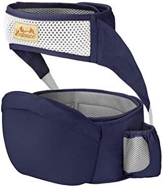 Viedouce Portabebé Ergonómico Asiento de Cadera,con Protección del Cinturón la Seguridad,Algodón Puro Ligero,Taburete de Cintura de Posición Múltiple por Bebé Niños 6-36 Meses(Azul Oscuro)
