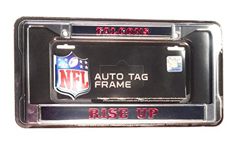 - Rico Industries, Inc. Atlanta Falcons Rise UP Laser Frame Chrome Metal License Plate Tag Cover