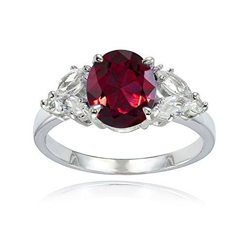 Sterling Silver Created Ruby and White Topaz Oval Ring Size 5 (Ice Ruby Ring)