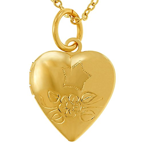 (Lifetime Jewelry Tiny Heart Locket Necklace That Holds Pictures - Kids Jewelry Small Photo Locket - 24k Gold Plated Cute Pendant Necklace for Women and Girls - Choice of Charm with Chain)