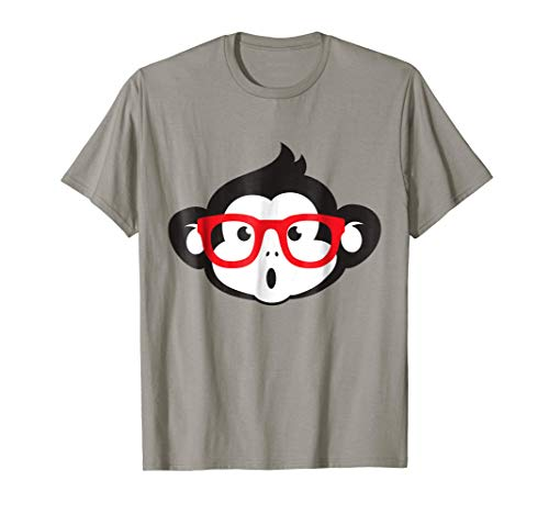 Cute monkey ape T-Shirt logo print glasses tee ()