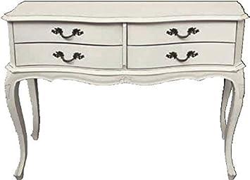 Beige//Naturale Grigio Legno di Pino della Nuova Zelanda Bianco 80.7 x 31.5 x 83 cm VERSA 21080044 Tavolo Provenzal con 4 cassetti