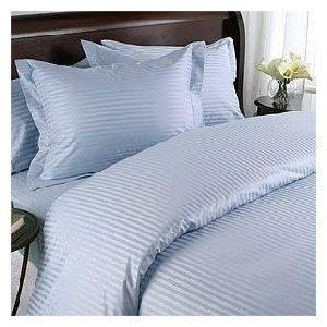 100% Cotton- Duvet Cover Set with Buttons Enclosure, 300TC - Blue Stripes, Twin/Twin Extra Long (XL), 2PC Duvet (300tc Duvet Cover Set)