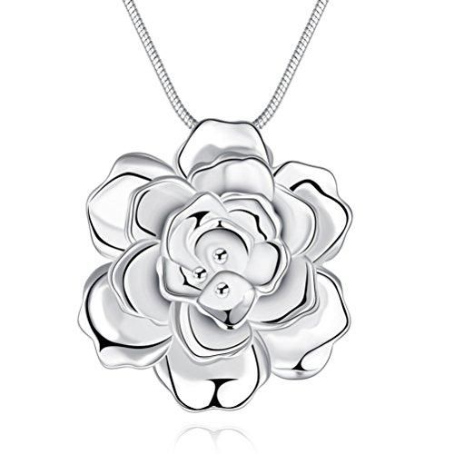 Large silver pendants amazon sunifsnow women large silver plated romantic rose flower pendant necklace aloadofball Gallery