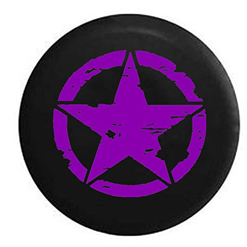 Purple Tire - American Unlimited Spare Tire Cover Purple - Oscar Mike Military Tattered Tactical Star fits Jeep Sport Camper