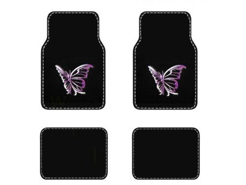 BDK MT-509-PP White Purple Butterfly Design Carpet Car Floor Mats for Auto Van Truck SUV - 4 Pieces Front & Rear Full Set with Rubber Backing - Universal Fit ()