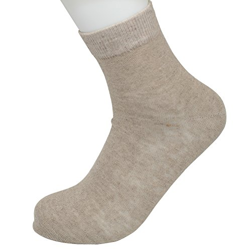Max Resource Organic Linen Thin Socks Crew Socks Women's 7-Pairs(Natural/Undyed, Free Size) - Linen Natural Brown Undyed