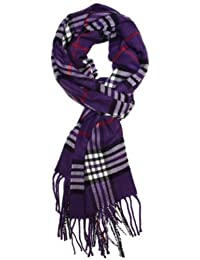 Classic Cashmere Feel Winter Scarf in Rich Plaids Purple