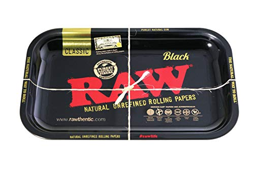 RAW Gold and Black Metal Rolling Tray - Limited Edition - 11'' x 7'' Size