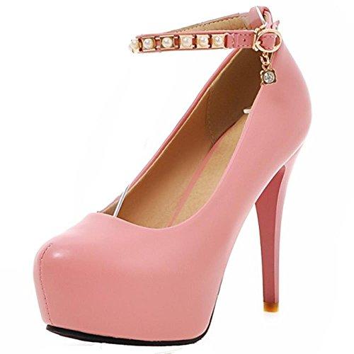Forme Aiguille Talons Mode Hauteur Coolcept Plate Rose Sexy Cheville Bride Escarpins Femmes Club Chaussures Soirée 1nqAZPw