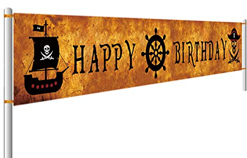 Colormoon Pirate Happy Birthday Bunting Banner, Pirate Party Supplies Decorations, Pirate Birthday Photo Backdrop Hanging Decorations Both Indoor Outdoor (9.8 x 1.5 feet) ()