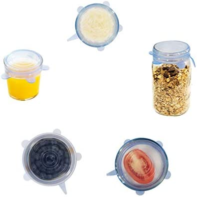 Silicone Wrap Stretch & Seal Covers [Durable BPA-Free Reusable Microwave-safe Flex Lids] Expandable Universal Spill-proof Fit for Small & Large Bowl, Food Saver, Storage Container, Jar (6 Pack Set)