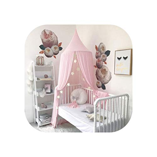 Solid Chiffon Princess Home Small Baby Dome Snow Spinning Mosquito Net Bed Kids Canopy Bedcover Curtain Bedding Dome Tent,Pink