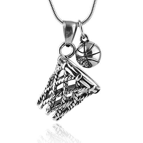 ewelry Basketball Rim and Basketball Set Stainless Steel Pendant Necklace 24'' Chain 3 Color Options (Silver) (24' Necklace Silver Set)