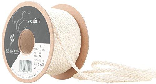 Berisfords Barley Twist Rope, Cream, 5 mm Width, 20 metre Length