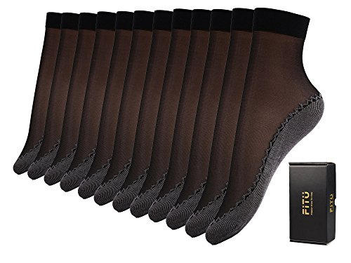 Fitu Women's 12 Pairs Silky Cotton Sole Sheer Ankle High Nylon Tights Hosiery Socks (Cotton Sole 12 Pairs - Nylon Sheer Tights