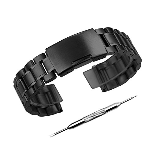 Zeiger 20mm Mens Watch Band Stainless Steel Metal Watch Band Interchangeable Replacement Black