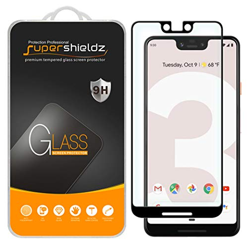 [2-Pack] Supershieldz for Google (Pixel 3 XL) Tempered Glass Screen Protector, [New Version] [Full Cover] Anti-Scratch, Bubble Free, Lifetime Replacement Warranty (Black)