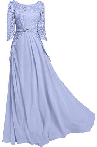ball Bete punta Manica dell'abito Mezza amp; Lila donna vestito circa sera Ivydressing colletto lungo da Chiffon 6qR8w0dq
