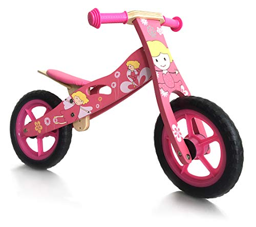 london-kate Deluxe Wooden BALANCE Running BIKE – No Pedal Push Bike – Girls Training Bike For Toddlers and Kids