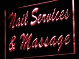 ADVPRO Nail Services & Massage Shop LED Neon Sign Red 16'' x 12'' st4s43-j138-r