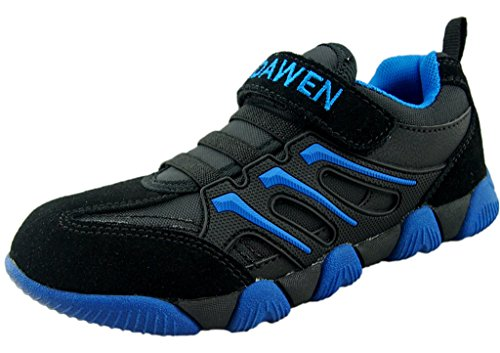 DADAWEN Children Boy's Girl's Athletic Outdoor Velcro Strap Sneakers Running Shoes (Toddler/Little Kid/Big Kid) Black US Size 13 M Little Kid/Tag US Size 2.5 (Basketball Shoes Size 13 Kids)