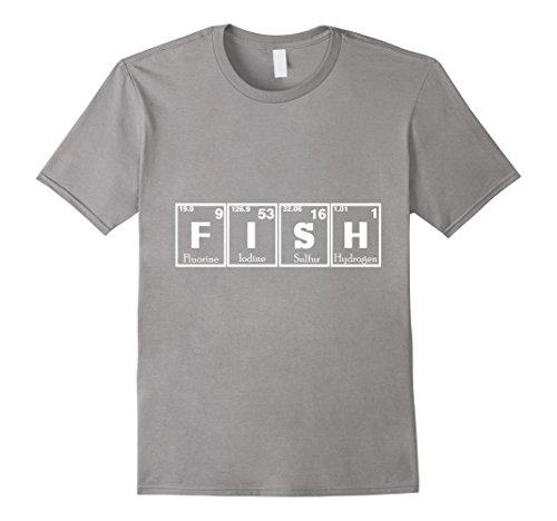 Mens Fish Periodic Table Of Elements T Shirt 2XL Slate