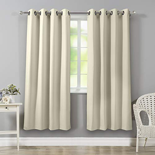 VEEYOO Bedroom Blackout Curtains 2 Panels - Thermal Insulated Room Darkening Curtain with Tiebacks Thick Grommet Window Drapes for Living Room (Beige, 52x84) (Panels Panel Grommet Window)