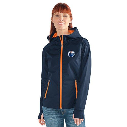- GIII For Her NHL Edmonton Oilers Women's Onside Kick Light Weight Full Zip Jacket, X-Large, Navy