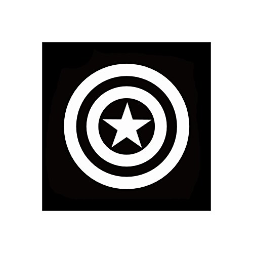 Captain America Shield Logo Marvel Comics Avengers Superhero White Vinyl Window SUV Auto Truck Decal Waterproof Bumper Sticker Size: 4.5